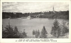 View of Lake Moll, Mall and Grotto Area Postcard