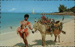 Woman and Burro on Beach