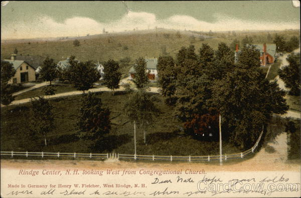 Looking West from Congregational Church Rindge New Hampshire
