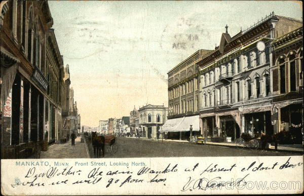 Front street looking north mankato mn postcard
