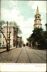 Meeting Street showing St. Michael's Church and Post Office Postcard