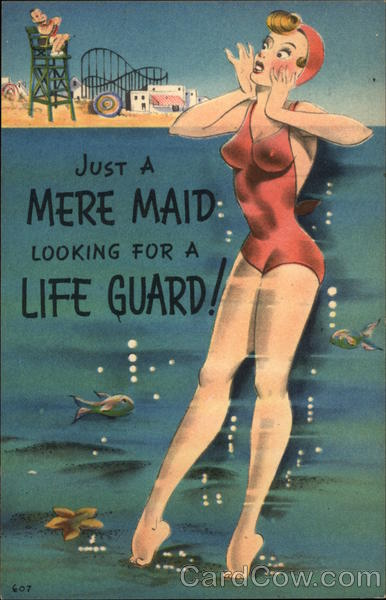 Just a Mere Maid Looking for a Life Guard! Comic, Funny