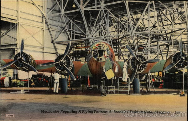 Mechanics Repairing a Flying Fortress at Brookley Field Mobile Alabama