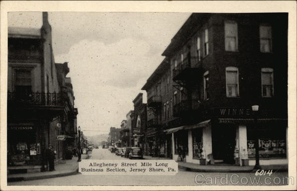 Allegheney Street. Mile Long Business Section Jersey Shore Pennsylvania