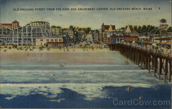 Old Orchard Street from the Pier and Amusement Center Old Orchard Beach Maine