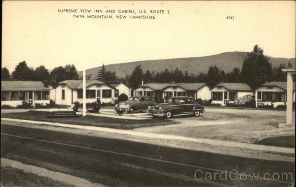 Supreme view inn and cabins twin mountain nh postcard for Ski cabins in new hampshire