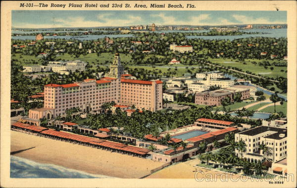 Roney Plaza Hotel and 23rd Street Area Miami Beach Florida