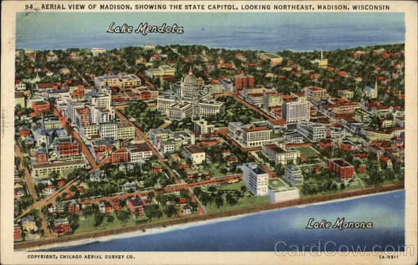 Aerial View of City showing State Capitol, Looking Northeast Madison Wisconsin