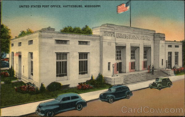 Hattiesburg (MS) United States  City new picture : United States Post Office Hattiesburg, MS Postcard