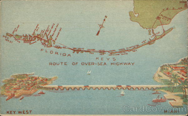 Map of Florida Over-Sea Highway Key West Maps
