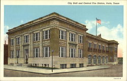 City Hall and Central Fire Station Postcard