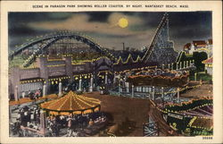Scene in Paragon Park Showing Roller Coaster by Night