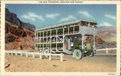 150 Man Transport, Boulder Dam Project Postcard