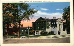 Public Library and Eagles Club Postcard
