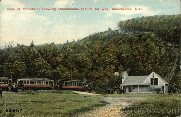 Base of Mountain, showing Uncanoonuc Incline Railway Manchester New Hampshire