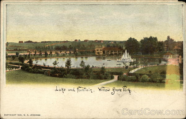 Lake and Fountain, Willow Grove Park Pennsylvania