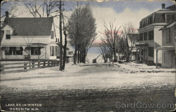 Lake Street in Winter Meredith New Hampshire
