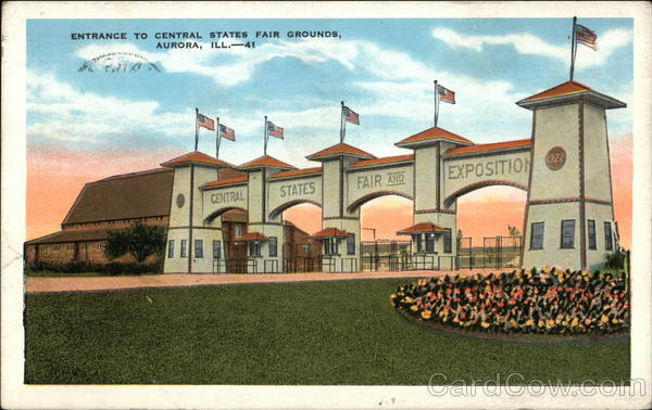 Entrance To Central States Fair Grounds Aurora Il Postcard