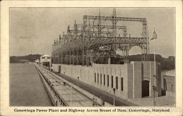 Conowingo Power Plant and Highway Across Breast of Dam Maryland