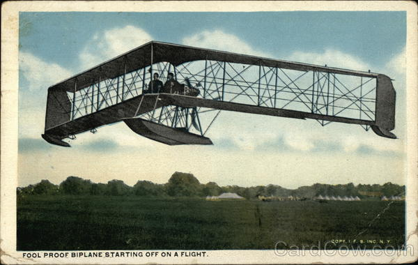 Fool Proof Biplane Starting Off on a Flight Aircraft