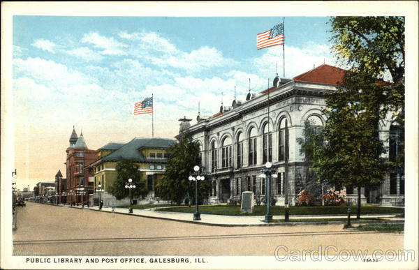 Public Library and Post Office Galesburg Illinois