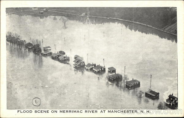 Flood Scene on Merrimac River Manchester New Hampshire