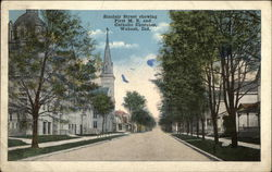 Sinclair Street Showing First M.E. and Catholic Churches Postcard