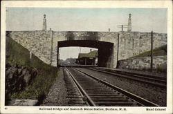 Railroad Bridge and Boston & Main Station Postcard