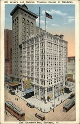 Wood's and Garrick Theatres, Corner of Randolph and Dearborn Streets Postcard
