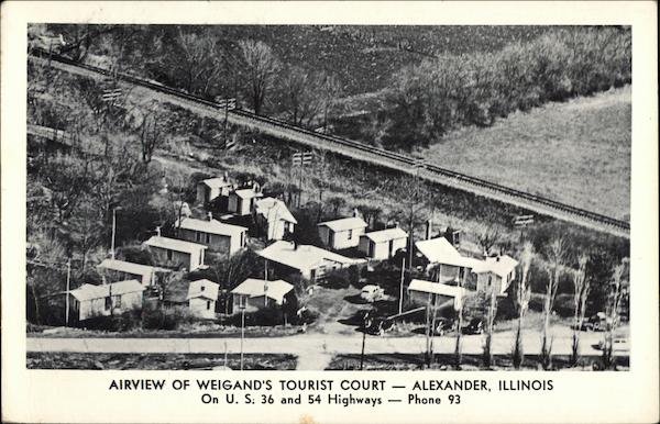 Airview of Weigand's Tourist Court Alexander Illinois