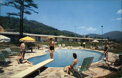 Pool Area at Howard Johnson's Motor Lodge and Restaurant Postcard