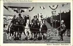 Ray Ramsey Lassoing Five Racing Rodeo Horses