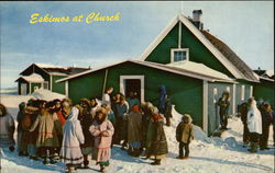 Eskimos at Church Postcard
