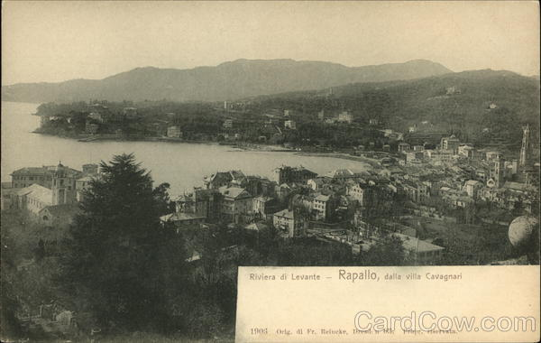 View of Town from Villa Cavagnari Rapallo Italy
