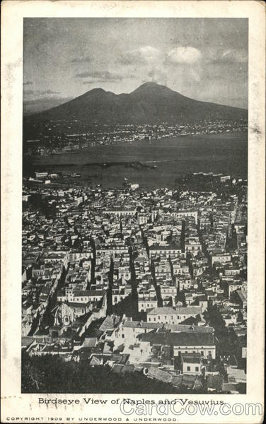 Birds Eye View of Naples and Vesuvius Italy