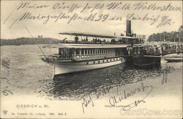 Steamer on the Rhine, Biebrich Wiesbaden Germany