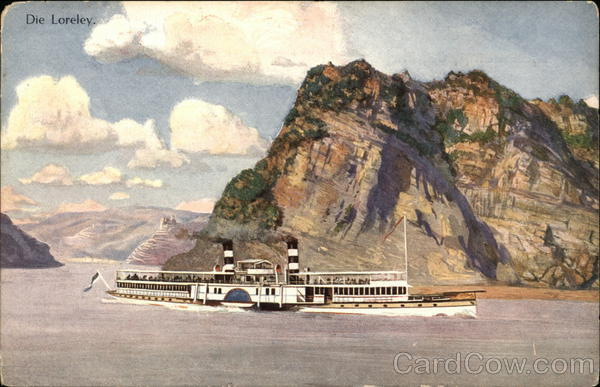 Rhine River - THe Lorelei and River Steamer St. Goarshausen Germany