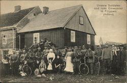 Unsere Soldaten und russ. Einwohner in Filipowo Feldpost