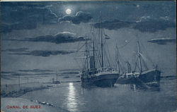 Suez Canal by Moonlight Postcard