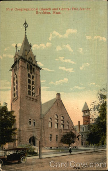 First Congregational Church and Central Fire Station Brockton Massachusetts