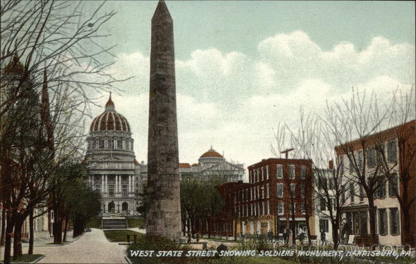 West State Street Showing Soldiers Monument Harrisburg Pennsylvania
