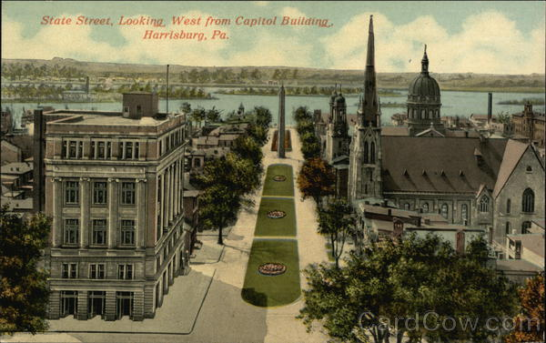 State Street, Looking West from Capitol Buildin Harrisburg Pennsylvania