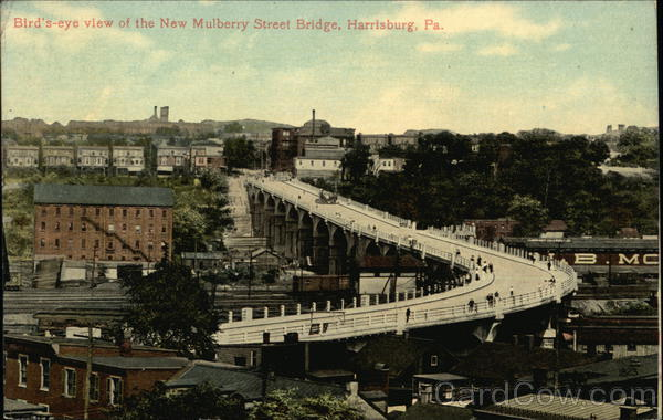 Bird's-eye View of the New Mulberry Street Bridge Harrisburg Pennsylvania