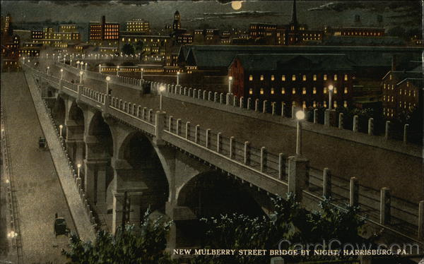 New Mulberry Street Bridge by Night Harrisburg Pennsylvania