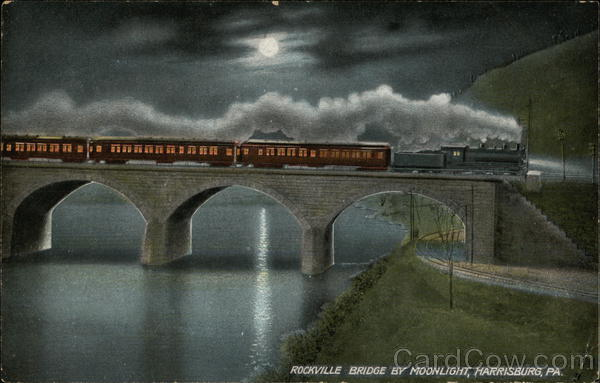 Rockville Bridge by Moonlight Harrisburg Pennsylvania