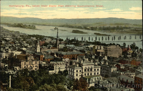 View of City Taken From Stand Pipe, Showing Susquehanna River Harrisburg Pennsylvania
