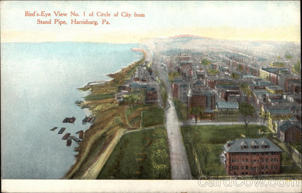 Bird's-Eye View No. 1 of Circle of City from Stand Pipe Harrisburg Pennsylvania