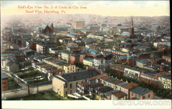 Bird's-Eye View No. 3 of Circle of City from Stand Pipe Harrisburg Pennsylvania