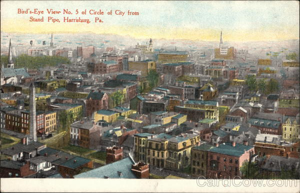 Bird's Eye View No. 5 of Circle of City from Stand Pipe Harrisburg Pennsylvania