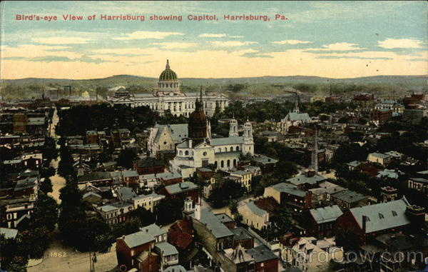 Bird's-Eye View of City, Showing Capitol Harrisburg Pennsylvania